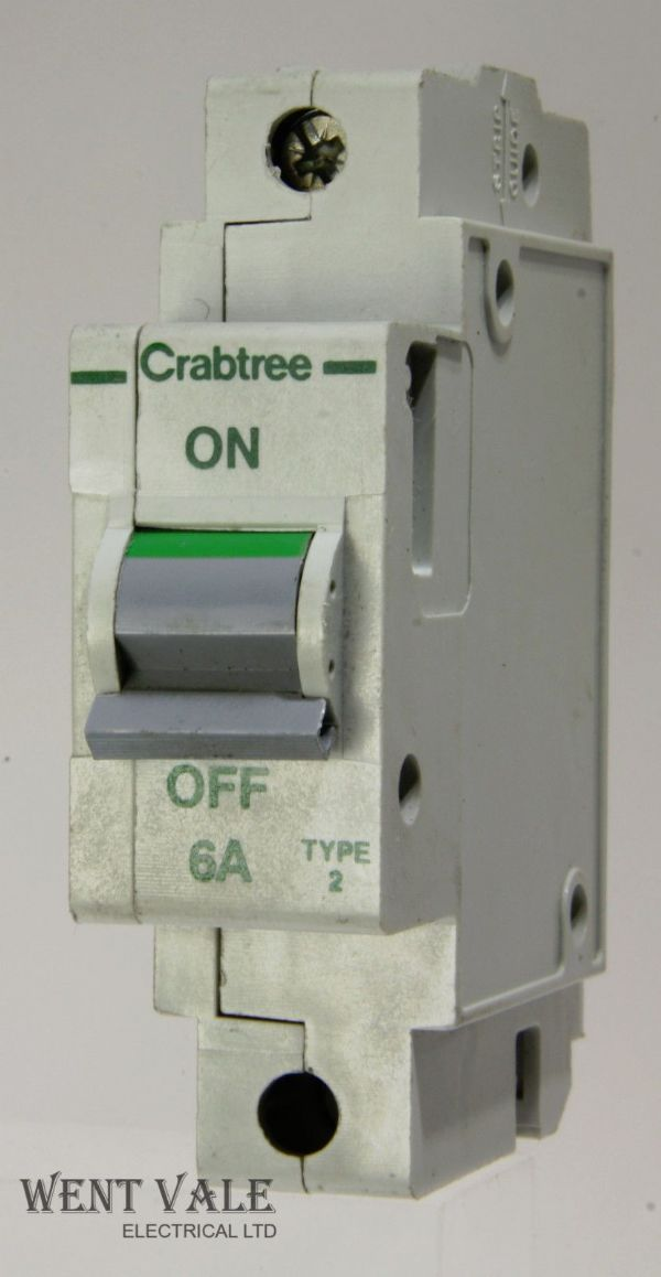 Crabtree Polestar - 602/06 - 6a Type 2 Single Pole MCB Used